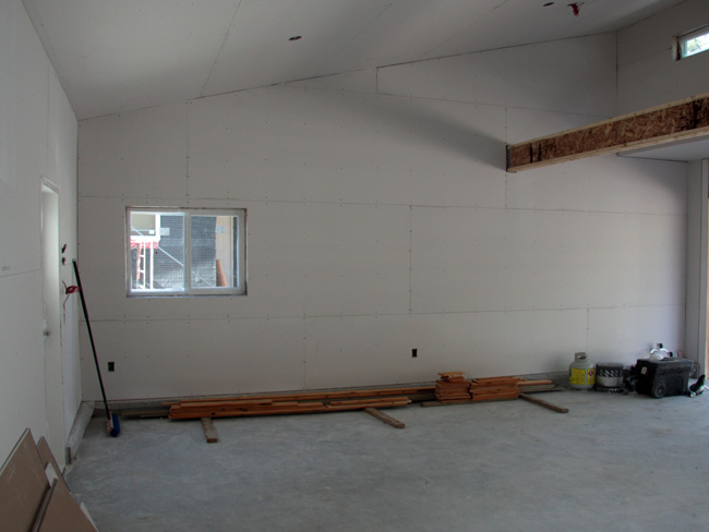 garage drywalled